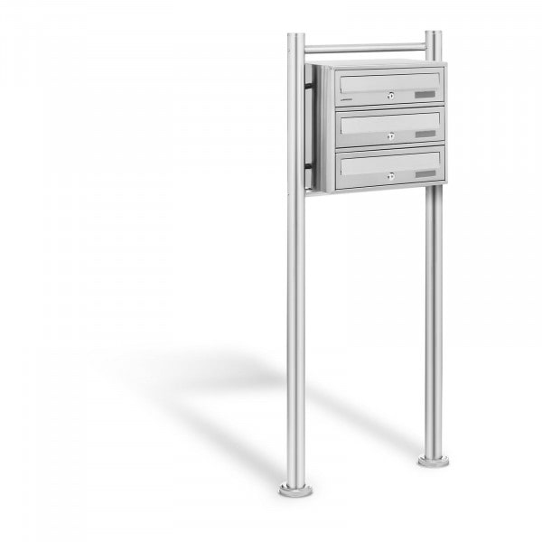 B-varer Stainless Steel Postbox - 3 Mailboxes