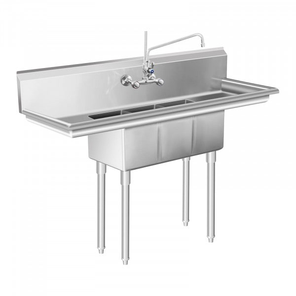 Lavello in acciaio inox industriale - 3 - 50 x 150 x 110 cm