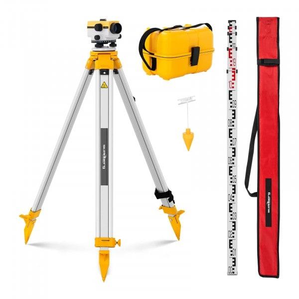 Nivelliergerät - mit Stativ und Nivellierlatte - 24-fache Vergrößerung - 36-mm-Objektiv - Abweichung