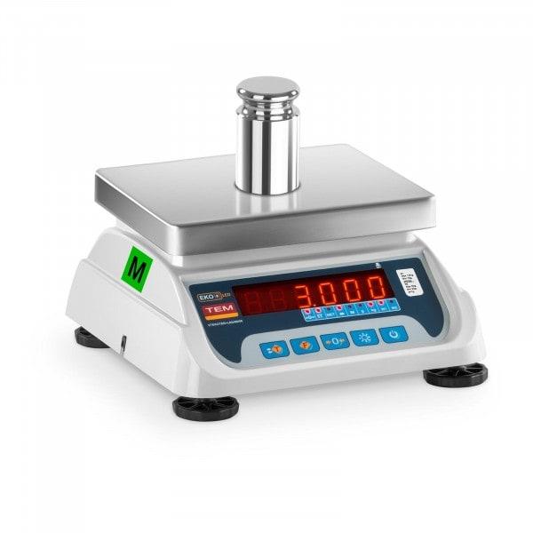 Asztali mérleg - hitelesített - 1,5 kg/ 0,5g - 3 kg/1 g - LED