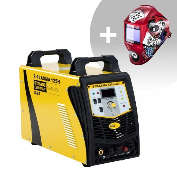 Welding Set CNC Plasma Cutter - 125 A - 400 V - Pilot Ignition + Welding helmet –Pokerface - PROFESSIONAL SERIES