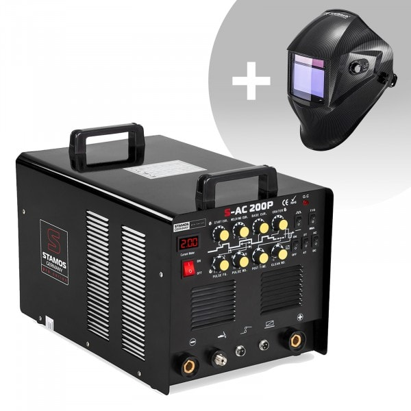 Welding Set Aluminium Welder - 200 A - 230 V - Pulse - including Foot Pedal + Welding helmet – Carbonic - PROFESSIONAL SERIES