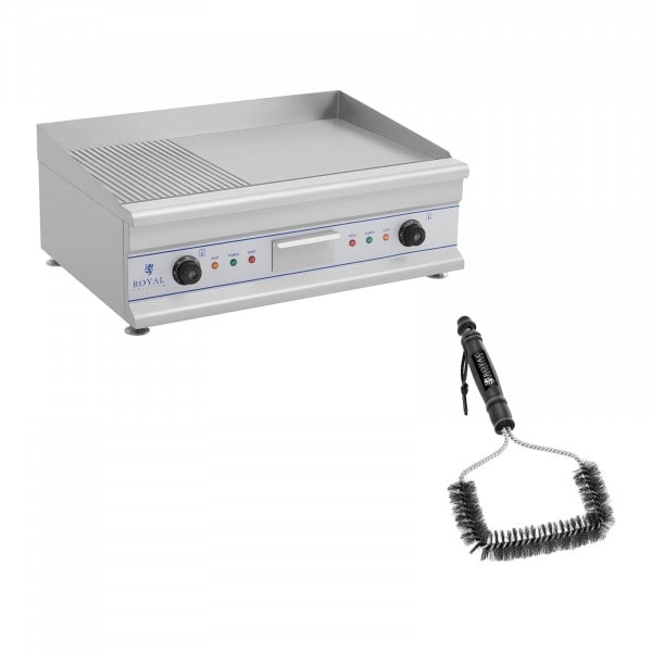 Double Electric Griddle Set with Grill Brush - 75 cm - ribbed/smooth - 2 x 3200 W