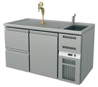Ausschanktheke - 1565x700x900 mm - Umluftkühlung - 500 W - 1 Tür für Flaschen o. Fässer