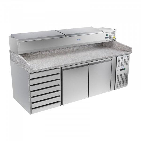 Gesamtansicht von Pizza-Kühltisch - 202 cm - Platte mit Aufsatz