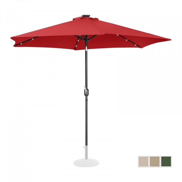Parasol with lights - red - round - Ø 300 cm - tiltable