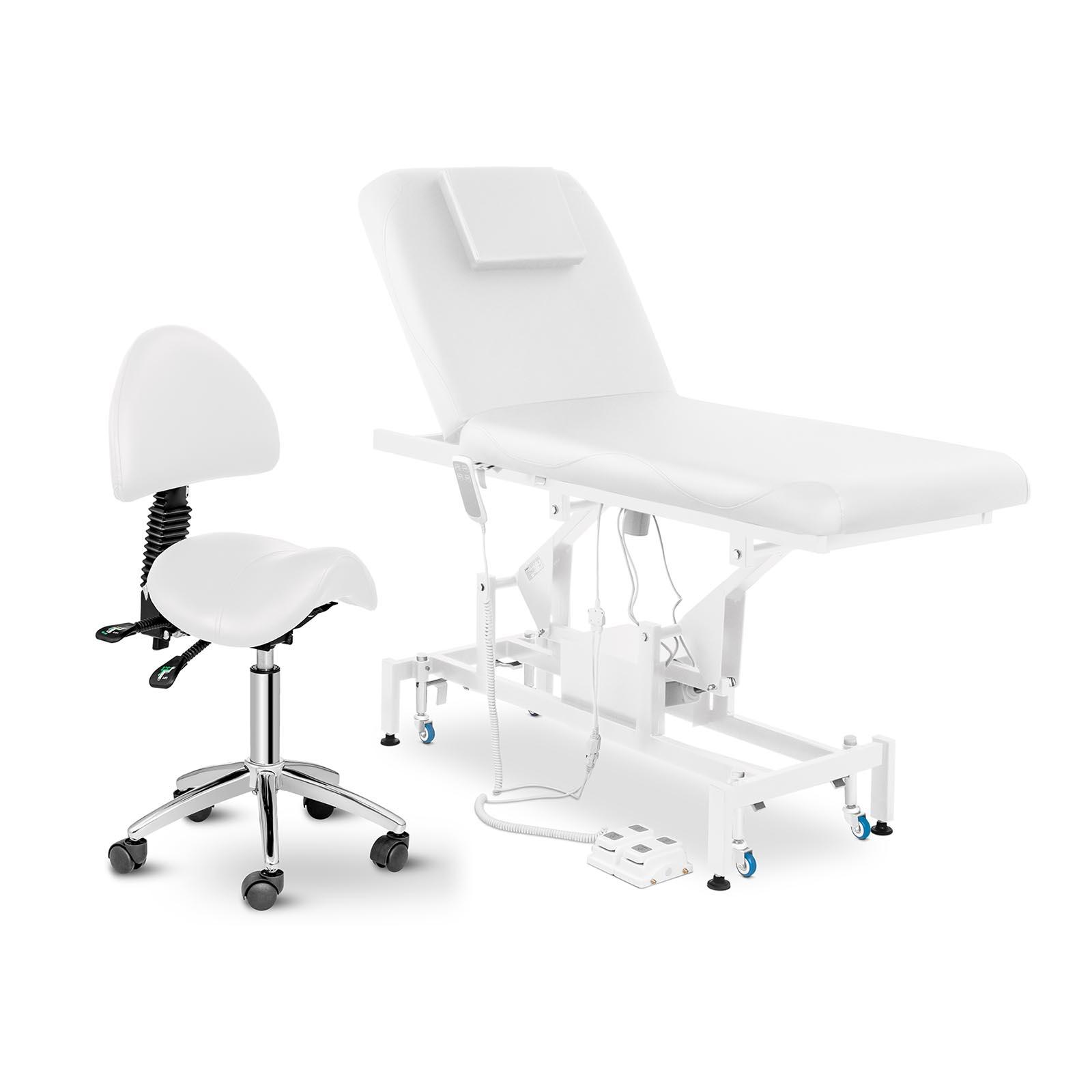 Zestaw Łóżko do masażu Physa Lyon White - białe + Krzesło siodłowe Berlin - białe - oparcie