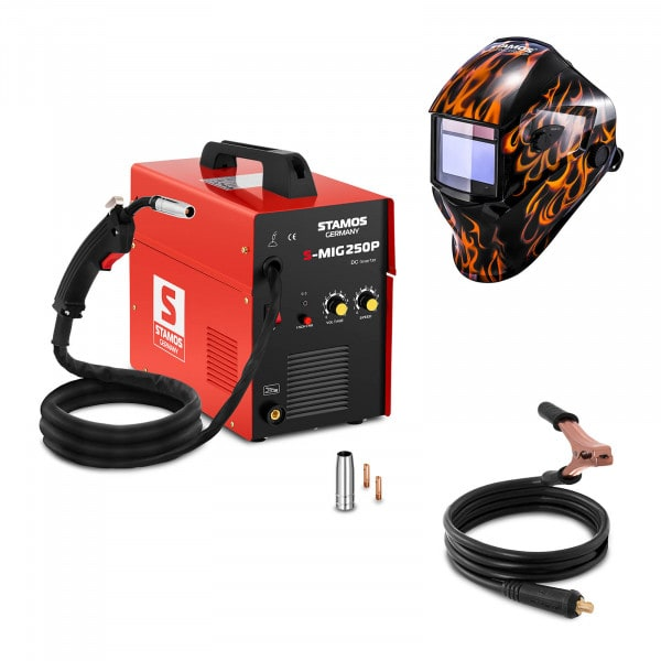 Welding Set MIG/MAG Welder - 250 A - 230 V - portable + Welding helmet – Firestarter 500 - ADVANCED SERIES