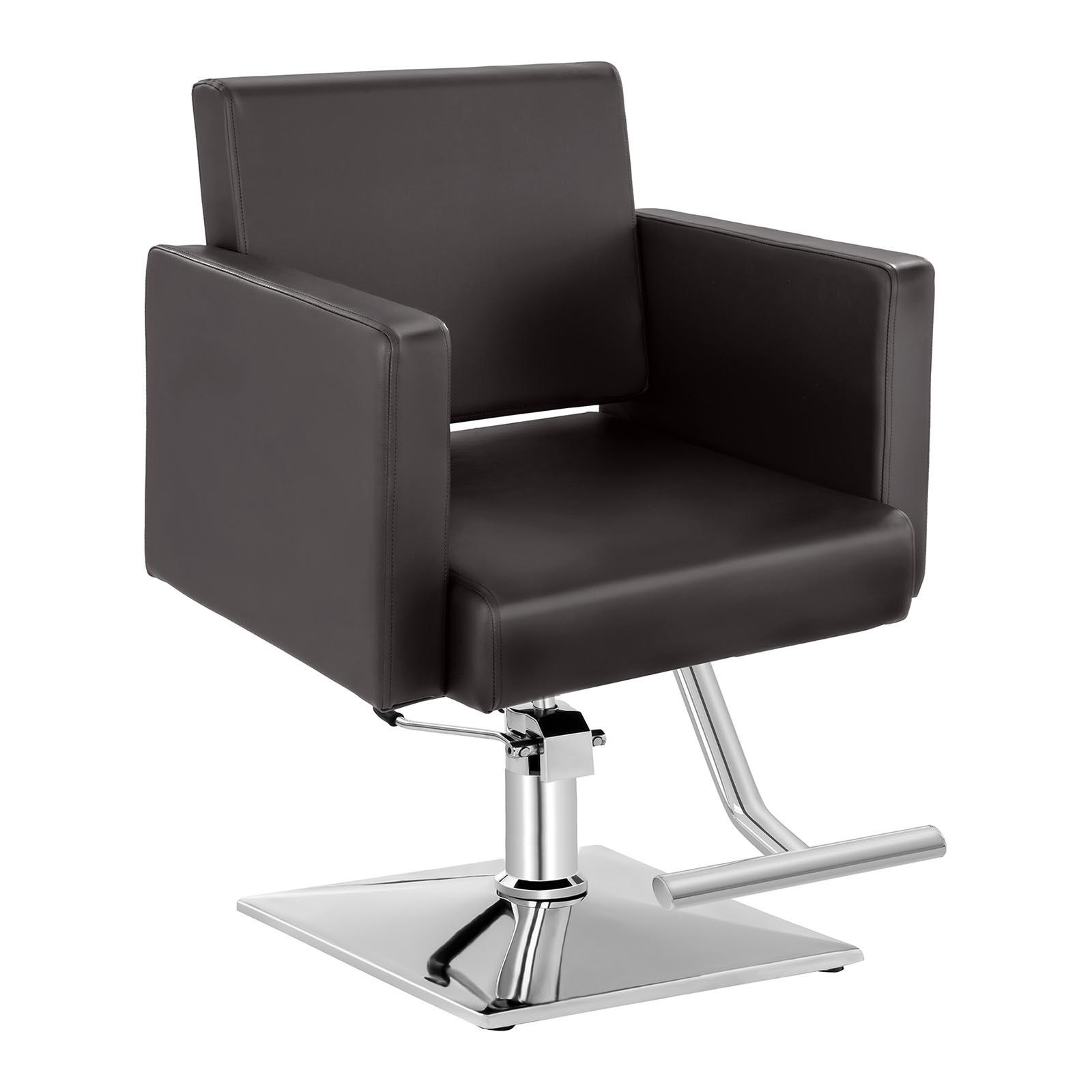 Zestaw Fotel fryzjerski Bedford - brązowy - 200 kg + Podnóżek fryzjerski - stal nierdzewna