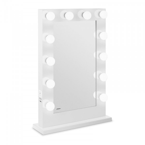 Sminkespeil med lys – hvitt – 12 lys – rektangulært