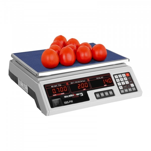 Balanza digital para control - 30 kg / 2 g - blanco - LED