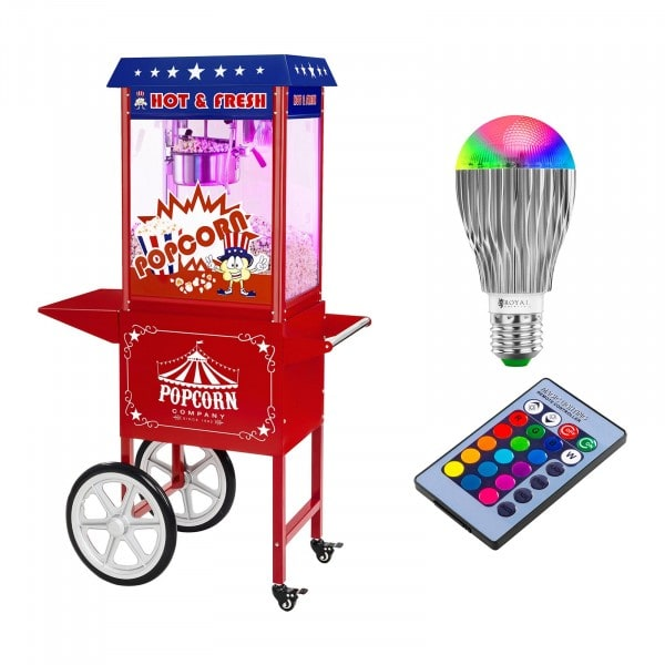 Popcorn machine with cart and LED RGB-Lighting - USA Design - red