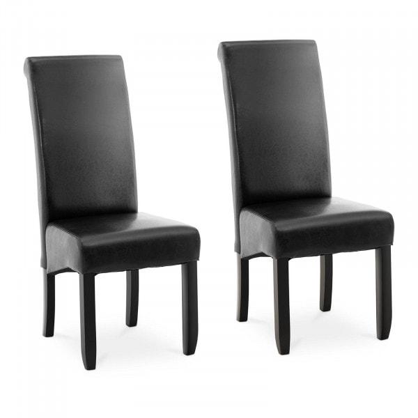 Krzesło tapicerowane - czarne - ekoskóra - 2 szt.