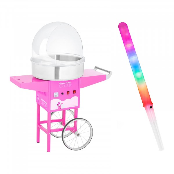 Candy Floss Machine Set with LED Cotton Candy Sticks - sneeze guard - cart - 52 cm - 1,200 watts - pink