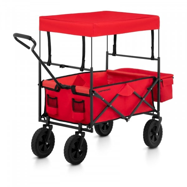 Folding Garden Cart with Canopy - Red