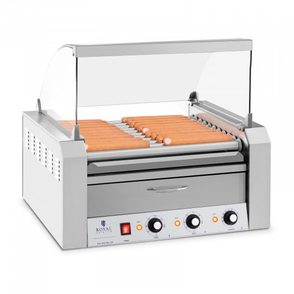 Hotdog Grill - 11 rollers - Warming drawers - Stainless steel