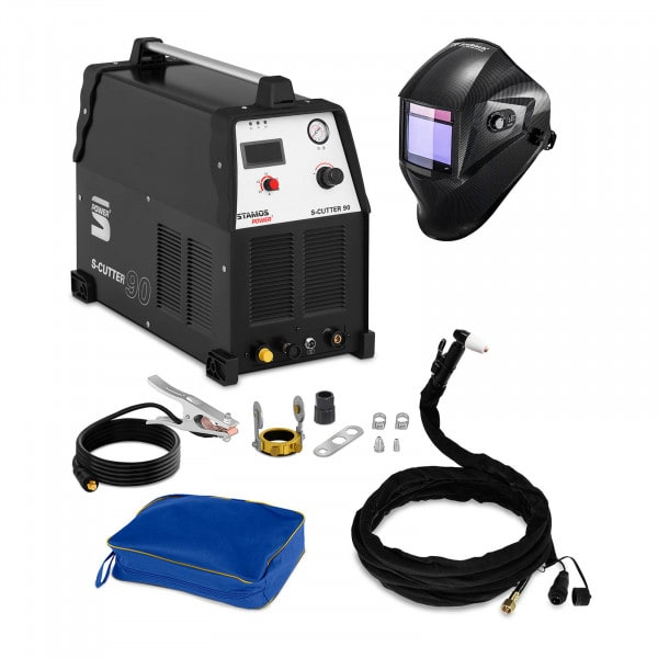 Set d'équipement de soudage Découpeur plasma - 90A - 400V + Masque de soudure – Carbonic – PROFESSIONAL SERIES
