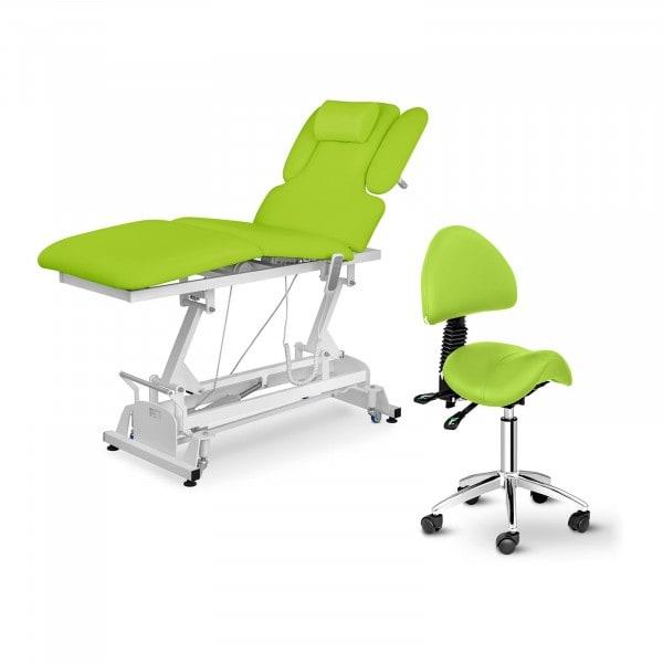 Massageliege elektrisch NANTES und Sattelstuhl - 3 Motoren - Fußpedal - hellgrün