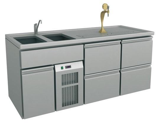 Ausschanktheke - 1965x700x900 mm - Umluftkühlung - 500 W - 4 Schubladen für Flaschen