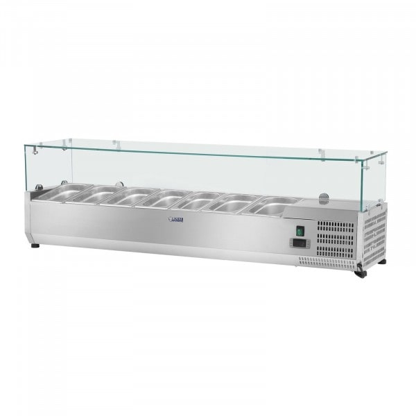 Vitrina refrigerada - 150 x 33 cm - 7 contenedores GN 1/4 - cubierta de cristal