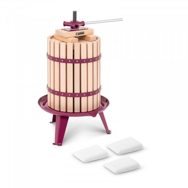 B-varer Fruktpresse - manuell - treverk - 18 L - inkl. treklosser, trykkplate og 3 pressesekker
