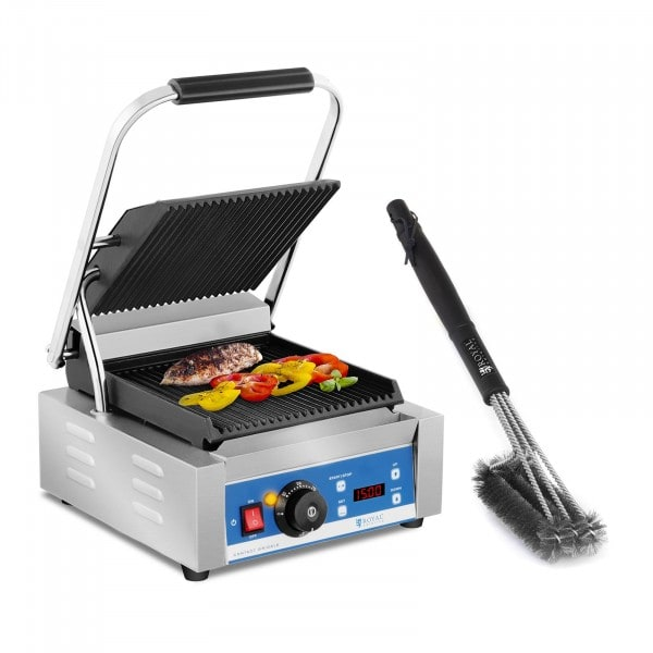 Contact Grill and 3-sided Grill Brush Set - 1,800 W - ribbed - timer