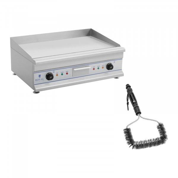 Set de fry top eléctrico doble con cepillo para parrilla - 75 cm - liso - 2 x 3.200 W