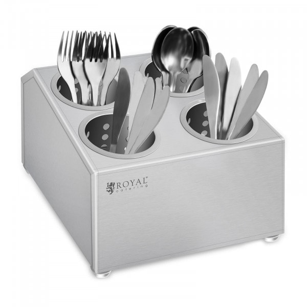 Cutlery container - Stainless steel - With 4 cutlery holders