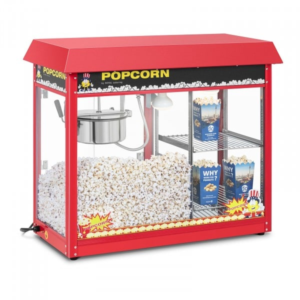 Popcorn machine - heated storage - red