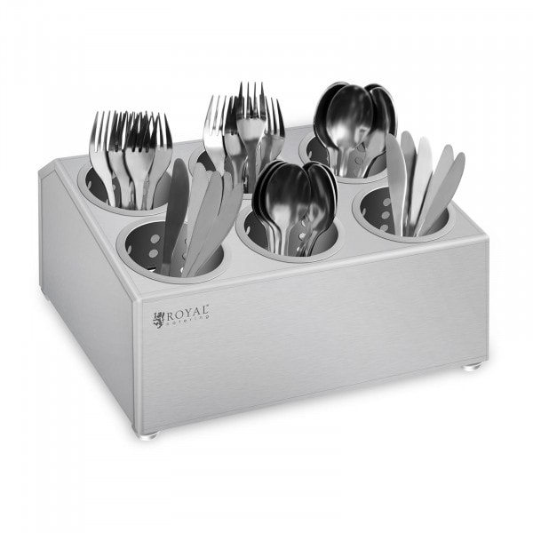 Factory seconds Cutlery container - Stainless steel - With 6 cutlery holders