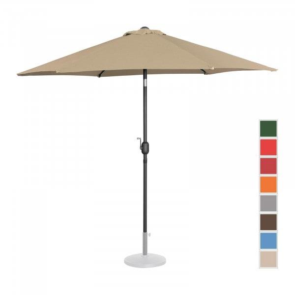 Large Outdoor Umbrella - taupe - hexagonal - Ø 270 cm - tiltable