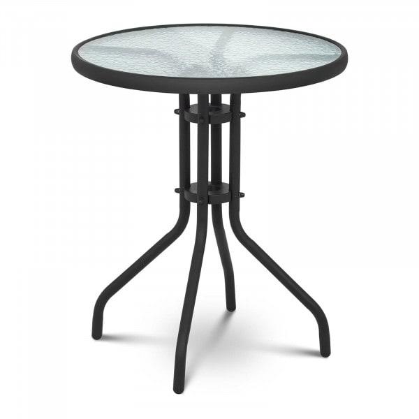 Gartentisch rund - Ø 60 cm - Glasplatte - schwarz