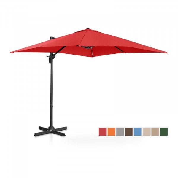Hanging Parasol - red - square - 250 x 250 cm - rotatable