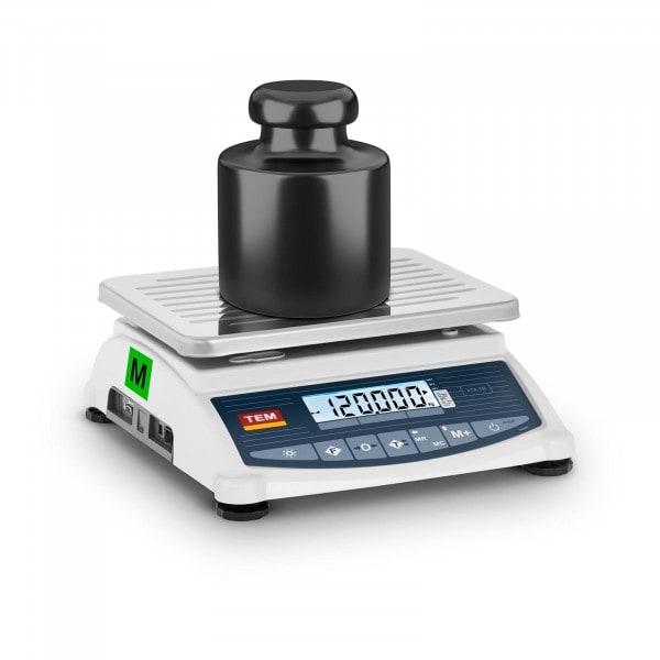 Balança de pesagem - Calibrada - 120 kg / 50 g - LCD - Memória