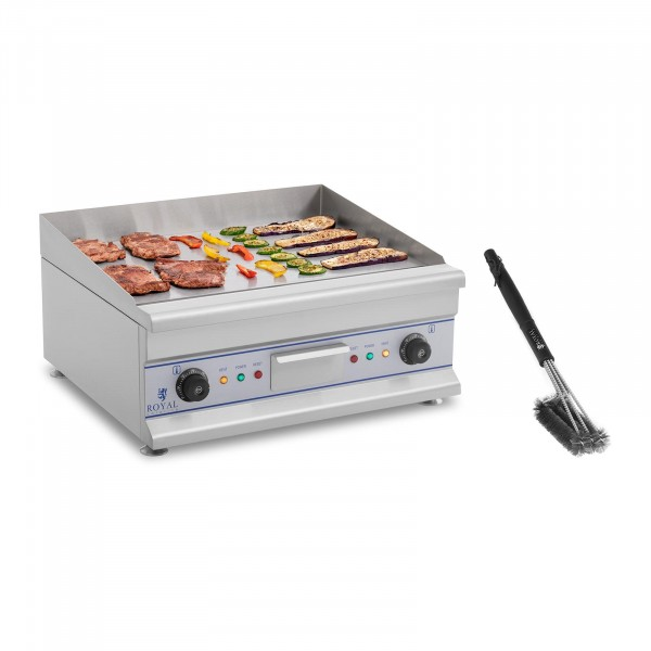 Double Electric Griddle Set with Grill Brush - 60 cm - smooth - 2 x 3,200 W