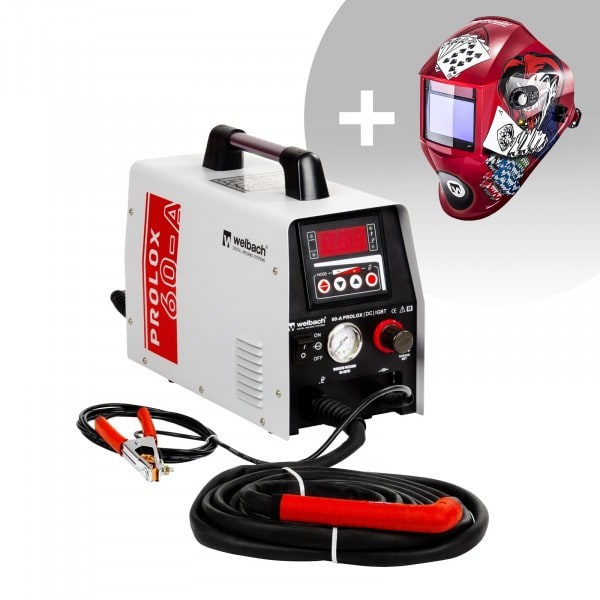 Welding Set Plasma Cutter - 40 A - 230 V - digital - Pilot Ignition + Welding helmet –Pokerface - PROFESSIONAL SERIES
