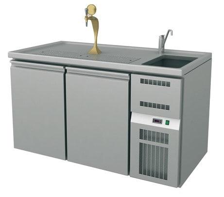 Ausschanktheke - 1565x700x900 mm - Umluftkühlung - 2 Türen für Flaschen oder Fässer - 1 Spülbecken r