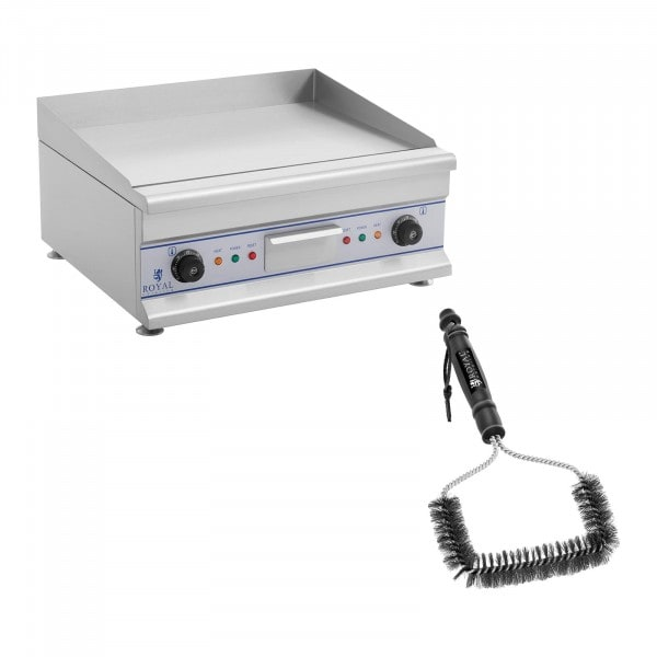 Double Electric Griddle Set with Grill Brush - 60 cm - smooth - 2 x 3200 W
