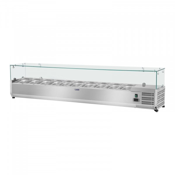 Countertop Refrigerated Display Case - 200 x 33 cm - 10 GN 1/4 Containers - Glass Cover