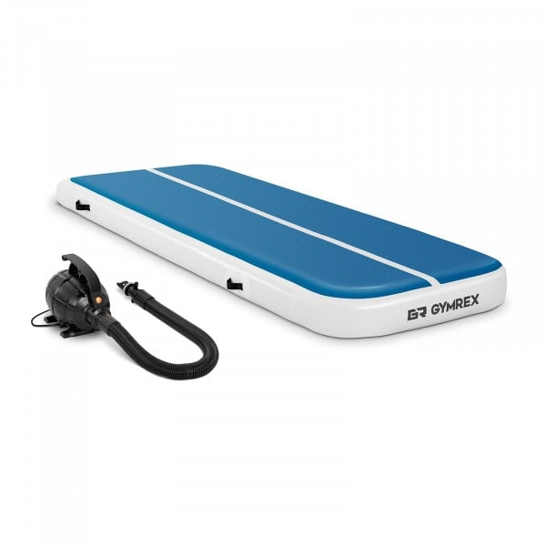 Set Aufblasbare Turnmatte inklusive Luftpumpe - 300 x 100 x 20 cm - 150 kg - blau/weiß