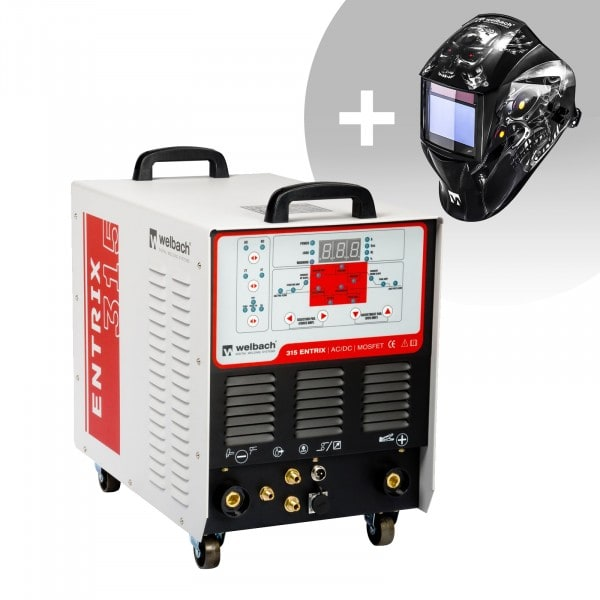 Schweißset ALU Schweißgerät - 315 A - 400 V - Puls - digital - 2/4 Takt + Schweißhelm – Metalator
