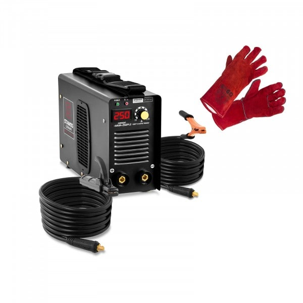 Set: Electrode Welding Machine with Welding Gloves - 250 A - 8 m cable - hot start