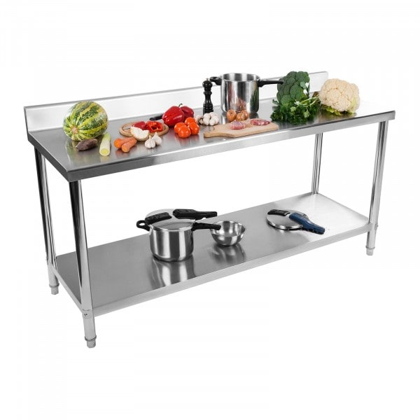 Stainless Steel Work Table - 200 x 60 cm - upstand - 160 kg capacity