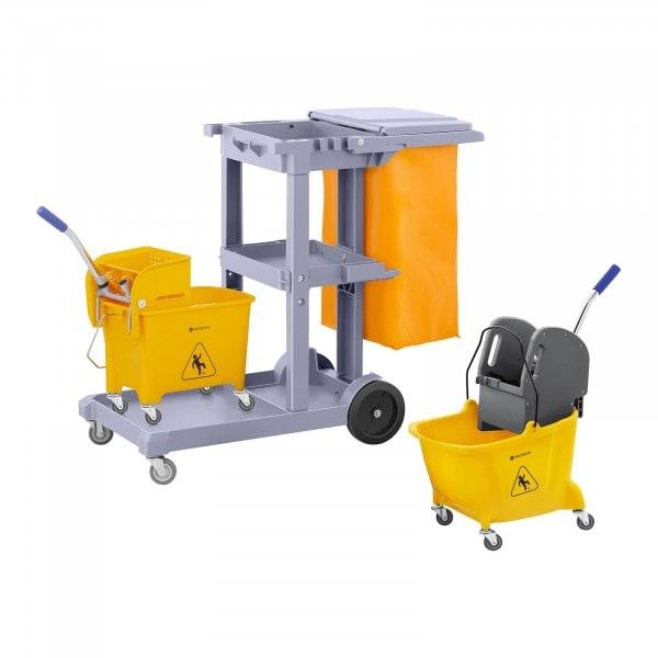 Set de carro de limpieza industrial con bolsa, tapa y 2 cubos con ruedas
