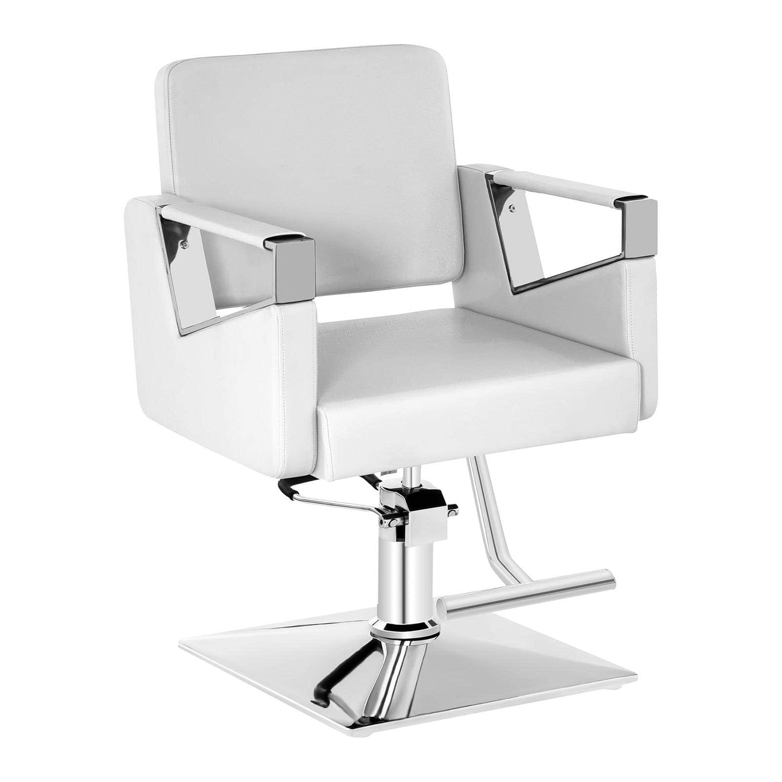 Zestaw Fotel fryzjerski Bristol - biały - 200 kg + Podnóżek fryzjerski - stal nierdzewna