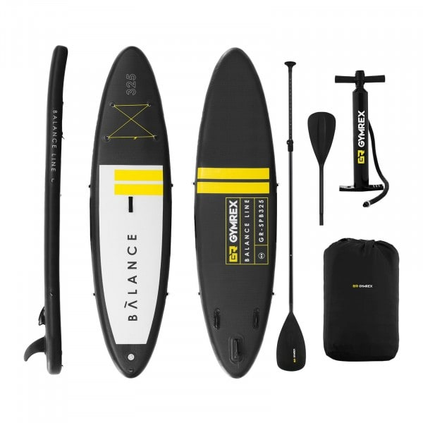 Inflatable SUP Board - 145 kg - black/yellow - set with paddle and accessories