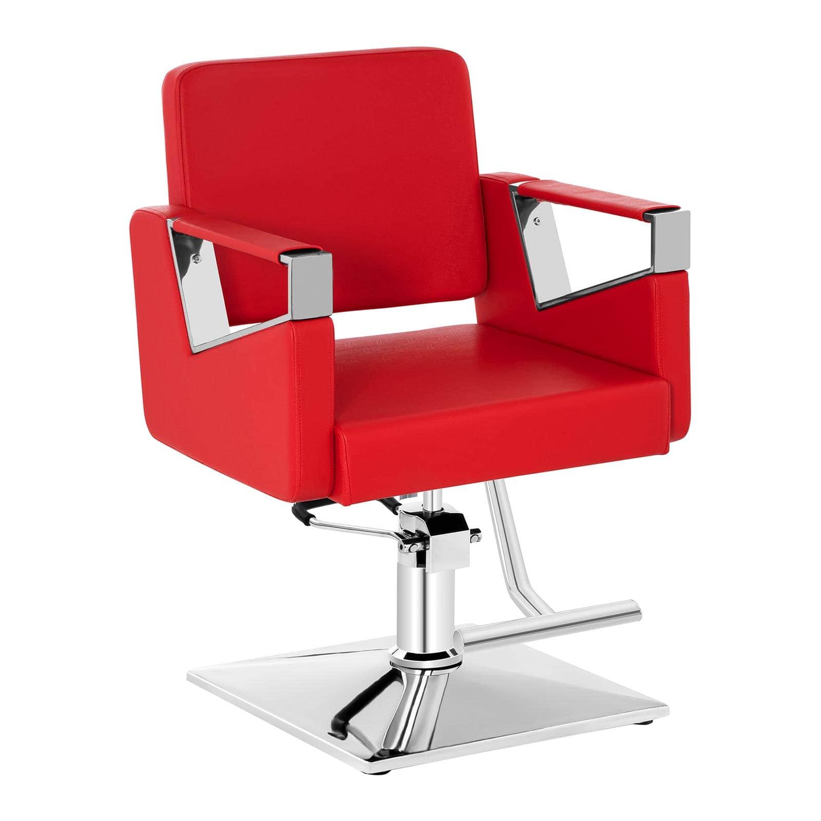 Zestaw Fotel fryzjerski Bristol - czerwony - 200 kg + Podnóżek fryzjerski - stal nierdzewna