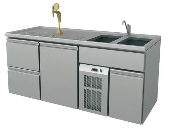 Ausschanktheke - 1965x700x900 mm - Umluftkühlung - 500 W - 1 Tür für Flaschen o. Fässer - 2 Schublad