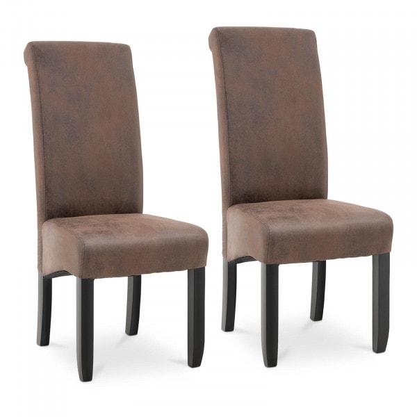 Krzesło tapicerowane - brązowe - ekoskóra - 2 szt.