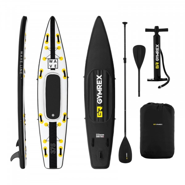 Inflatable SUP Board - 120 kg - black/yellow - set with paddle, seat and accessories